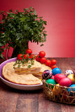 Easter Eggs And Pizza Rustica stock image