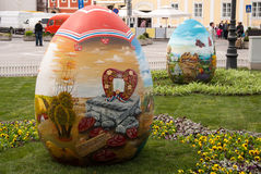 Easter eggs are placed on the square in front of Zagreb Cathedra Royalty Free Stock Images