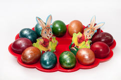 Easter eggs in plastic holder Royalty Free Stock Photography