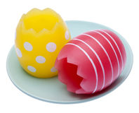 Easter Eggs on a Plate Stock Photos
