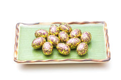 Easter eggs on plate Royalty Free Stock Images