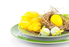 Easter eggs in a plate Stock Images