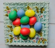 Easter eggs in plate Stock Images