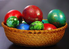 Easter Eggs. In a plate handmade Stock Photography
