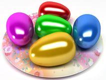 Easter eggs on the plate Stock Photo