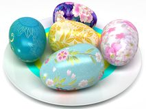 Easter eggs on the plate Royalty Free Stock Photos