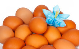 Easter eggs on the plate with a paper flower Stock Photography