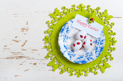 Easter eggs on a plate Royalty Free Stock Photos