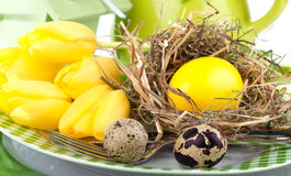 Easter eggs in a plate, Royalty Free Stock Photography