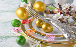 Easter eggs on a plate Royalty Free Stock Image