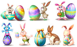 Easter eggs with playful bunnies Royalty Free Stock Photos