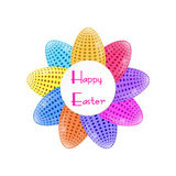 Easter Eggs with polka dots. Happy Easter. Round frame  Stock Photo