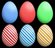 Easter eggs with polka dots and striped patterns in 3 colors. Stock Image