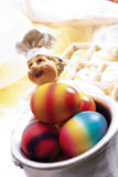 Easter eggs in pot Stock Images