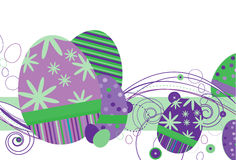Easter Eggs in Purple. Colors and abstract design on a white background Stock Images