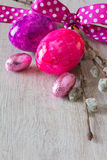Easter eggs pussy willow bow Royalty Free Stock Image