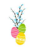 Easter eggs with pussy-willow Royalty Free Stock Photos