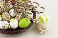Easter eggs with pussy-willow branches Stock Photography