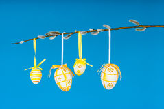 Easter eggs on willow twig horizontal Stock Image