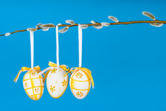 Easter eggs on pussy willow twig horizontal Royalty Free Stock Photos