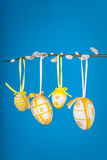 Easter eggs on willow twig vertical Stock Images