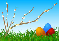 Easter Eggs and Pussy Willows Royalty Free Stock Images