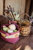 Easter eggs in quilt handmade bag in country house Royalty Free Stock Photos