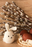 Easter eggs and rabbit on catkins background Royalty Free Stock Photo