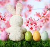 Easter eggs and rabbit on grass Royalty Free Stock Image