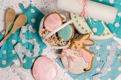 Easter eggs and rabbit honey-cake, sweet color background kitchen Royalty Free Stock Photography