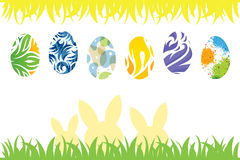 Easter Eggs and rabbit silhouette Royalty Free Stock Image