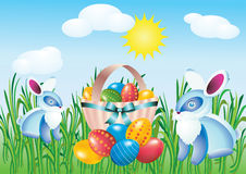 Easter eggs and rabbits. Royalty Free Stock Images
