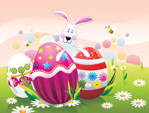 Easter eggs and rabbits  Royalty Free Stock Photography