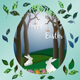 Easter eggs with rabbits on green grass in the forest,nature landscape paper art scene background. Vector illustration stock illustration