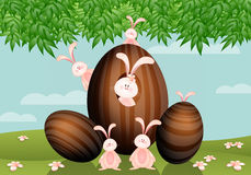 Easter eggs with rabbits Stock Images