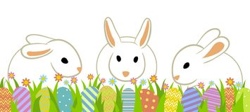 Easter eggs and rabbits. Easter eggs and three rabbits in grass isolated on white vector illustration