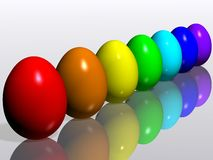 Easter eggs. Rainbow. A collection of colorful Easter eggs. 3D rendering Stock Images