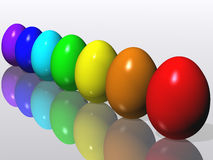 Easter eggs. Rainbow. A collection of colorful Easter eggs. 3D rendering Royalty Free Stock Photos