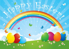 Easter Eggs in Rainbow Colors Stock Image