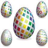 Abstract 3D Easter Eggs With Decorative Texture Stock Photos