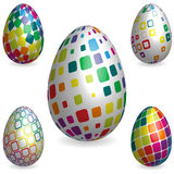 Abstract 3D Easter Eggs With Decorative Texture Stock Photography