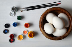 Easter eggs ready for painting Stock Photo