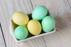 Easter Eggs in Recatngle Bowl Stock Image