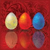 Easter eggs on a red Stock Images