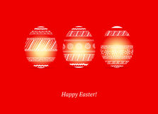Easter eggs on red background Stock Photo