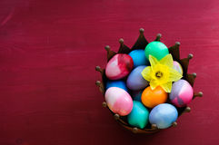 Easter Eggs on Red Background Stock Photography