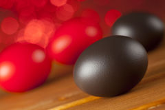 Easter eggs on red background Royalty Free Stock Images