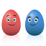Easter Eggs Red Blue Cartoon Royalty Free Stock Photo