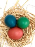 Easter eggs red blue green homemade Stock Photos
