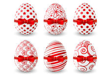Easter eggs with red bow Royalty Free Stock Photo